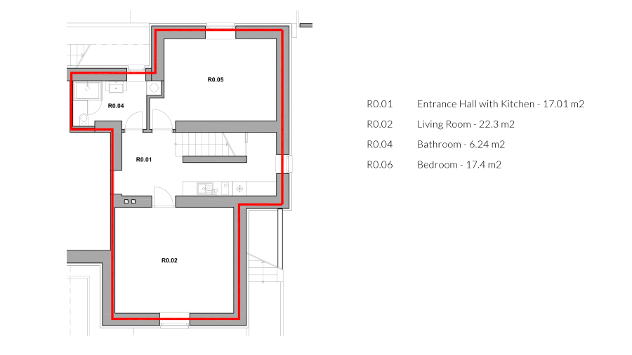 zoerentals_rastislavova_one_bedroom_apartment_ground_plan