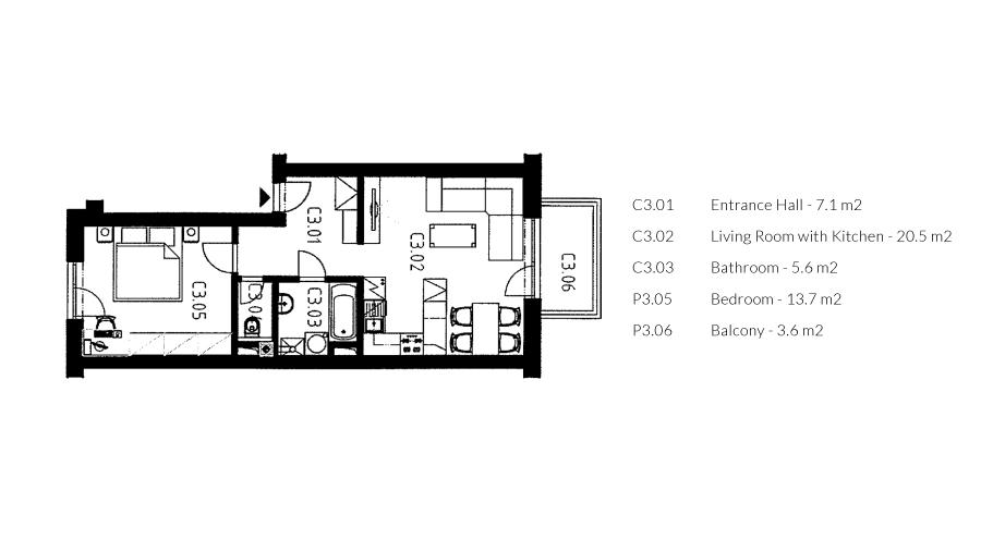 zoerentals_vinohrady_one_bedroom_apartment_with_balcony_ground_plan